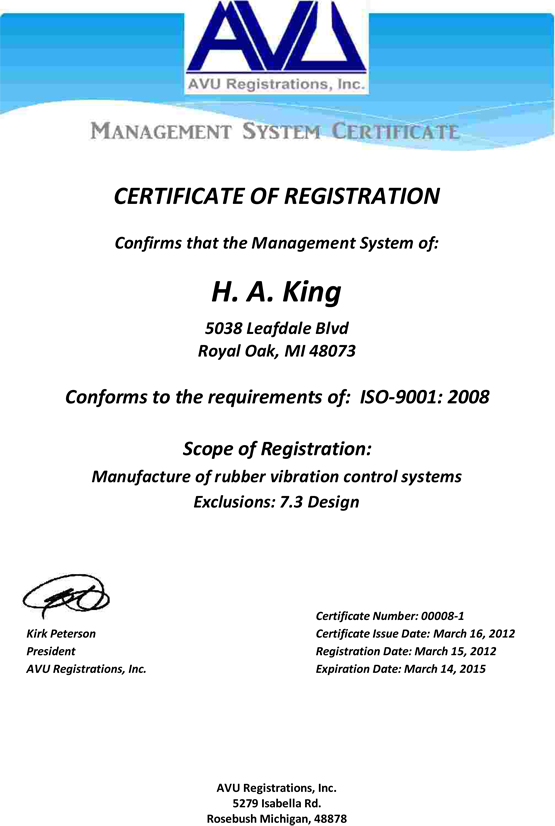 ISO 9000:2008 Quality Management Certified - H.A. King - Vibration ...
