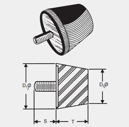 1000 SERIES ISOLATORS CONICAL BUMPERS - 5/16-18 THREADS